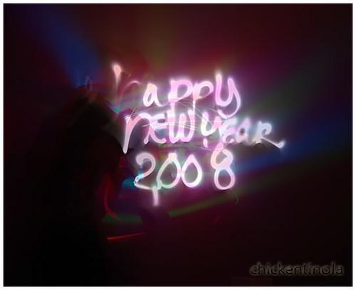 Happy New Year 2008: Light Graffiti by chickentinola.