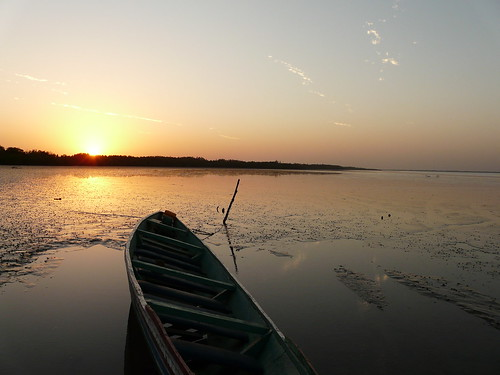 sunset on the Gambia River, West Africa