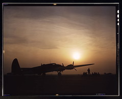 Sunset silhouette of flying fortress, Langley Field, Va.  (LOC) (The Library of Congress) Tags: sunset silhouette dark airplane virginia war dusk aircraft aviation military wwii july b17 worldwarii ww2 libraryofcongress 1942 boeing bomber flyingfortress langley worldwar2 b17bomber wartime militaryaviation boeingb17 boeingflyingfortress b17flyingfortress boeingb17flyingfortress july1942 xmlns:dc=httppurlorgdcelements11 dc:identifier=httphdllocgovlocpnpfsac1a35090 alfredtpalmer yb17 langleyfield alfredpalmer boeingyb17 boeingyb17flyingfortress
