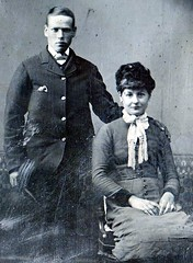 Lost in Time (Tony Worrall Foto) Tags: old blackandwhite pose lost couple antique victorian photographs forgotten wife poise manandwife lostintime nv3 antiquephotographs