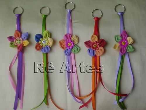 Chaveiros Flores de Fuxico por ~♥~ Fuxicos e Retalhos ~♥~.