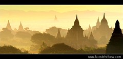 Myanmar - Temples of Bagan in Morning mist ( Lucie Debelkova / www.luciedebelkova.com) Tags: world trip travel light sunset shadow vacation sun sunlight holiday color colour history tourism sol colors sunrise landscape temple gold dawn golden licht soleil scenery asia colours tour place dusk lumire couleurs burma buddhist buddhism visit location tourist colores beaut journey temples destination historical myanmar traveling sole visiting exploration burmese sonne fareast farbe zon couleur touring bagan farben buddhists wonderoftheworld ancientworld stupas 10faves 35faves theunforgettablepictures luciedebelkova wwwluciedebelkovacom lphistory