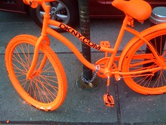 Orange Bicycle at 42 and 6 ave