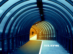 Sea Tunnel in Glasgow (Semi-detached) Tags: blue light sea urban orange reflection water glass lines architecture corner scotland glasgow steel tunnel symmetry february curved secc 2008 crooked aplusphoto
