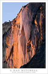 Horsetail Fall, Sunset (G Dan Mitchell) Tags: california travel winter light sunset cliff usa mountains fall landscape waterfall nationalpark rocks dusk stock scenic valley yosemite granite february elcapitan horsetail firefall yosemiteblogcom induro gdanmitchell