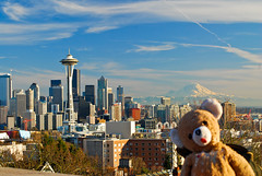 The Needle and Ted (El Gregein) Tags: seattle bear ted gnome nikon teddy amelie d80