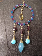 Moroccan-style necklace made for a charity auction (Anh-Dao V) Tags: necklace turquoise auction jewellery amethyst pendant peruvian garnet apatite goldfilled chalcedony vlachos anhdao