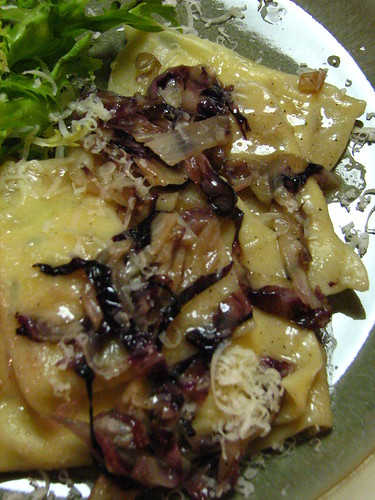 Watercress and Ricotta Ravioli with Radicchio Butter Sauce