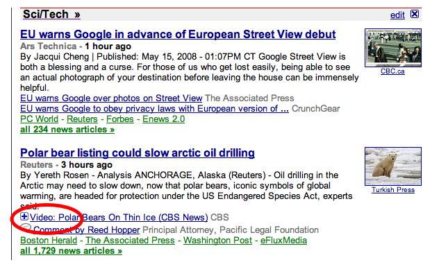 Bideoak Google News-en