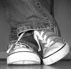 In My Shoes (linus05) Tags: blackandwhite texture feet shoes jeans converse chucks blackwhitephotos flickraward platinumheartaward