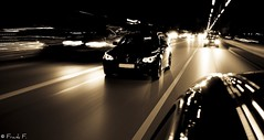 The Epic Chase (Frank_F.) Tags: street motion cars night nacht chase bmw autos greyscale lightroom 525i 5series angeleyes 530d nikond40x platinumheartaward mkit nikkorafs1855mmf3556gif frankf