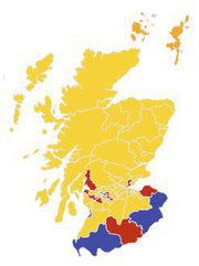 A map of new constituencies in the Scottish Parliament 2011-16
