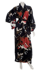 Crane Black Silk Kimono (The Japanese Shop) Tags: blackkimono blacksilkkimono blackcolourkimono