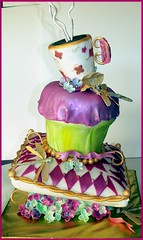 Crazy Cupcake Cake (babushka bakery) Tags: pink sculpture green cake diamonds dragonfly sugar pillow cupcake hydrangea mad teacup peters colette tipsy teaparty whimsical hatter tiltedcake stylemepretty