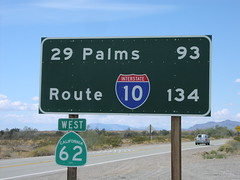 CA-62 West - Distance Marker (sagebrushgis) Tags: california sign shield sanbernardinocounty biggreensign distancemarker ca62 californiastatehighway