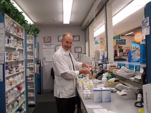 Jim Depuy, pharmacist checking in order
