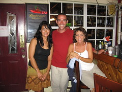 With Arlene and Janis at the Castaway Waterfront Restaurant and Sushi Bar in Marathon, Florida, USA