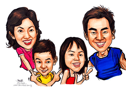 family caricatures in colour 090108