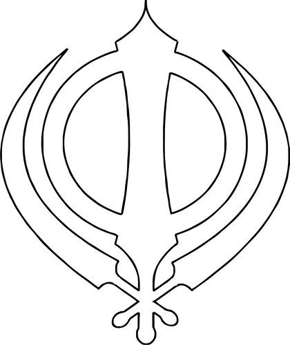Sikh Symbol Khanda Outline