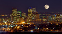 Denver's Skyline: More Impressive Than You Might Think (Fort Photo) Tags: city longexposure urban moon skyline night skyscraper dark lights nikon bravo colorado downtown nightscape nocturnal skyscrapers denver highrise co lunar nocturne hdr d300 photomatix diamondclassphotographer theunforgettablepictures excellentafterdark moonadded