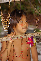 Trinkets for Tourists (Mondmann) Tags: brazil girl river souvenirs amazon colombia village native indian vendor menina indigenous amazonas nrasil desana tukano ecotoursim thatsclassy diaadiabrasileiro