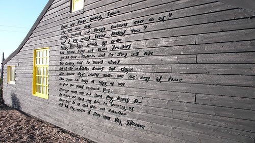 "Prospect Cottage poem wall: ""The Sunne Rising"" by John Donne"