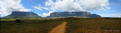 Monte Roraima e Monte Kukenan (Marcelo Seixas) Tags: world travel blue sunset portrait sky mountain nature mystery clouds america trekking walking lost photography is photo track photos hiking venezuela south natureza bolivar hike victory professional mount american panoramica tropical vista keep gran canaima nothing caminhada justdoit montanha clound vitoria ican caminho perdido impossible trilha roraima sabana tepui lostworld profissional tepuy idid kukenan monteroraima dotheimpossible