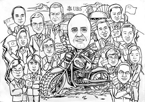 Caricatures group UBS Harley Davidson ink outline