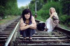 Waiting for the train (Julia Skobeleva) Tags: trees girls two portrait woman film girl beauty shirt train bag beads women rocks dress tape blond rails brunette kazakhstan almaty paints