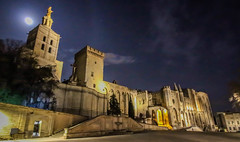 Palais des Papes -  Papal Palace - Avignon (Andy.Gocher) Tags: andygocher canon100d canon1018mm europe france avignon provence palace pope cathedral buildings architecture night moon light clouds ngc