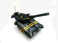 "Blacktron ""Misery"" Main Battle Tank. TBB'ED. (Lego Junkie.) Tags: black yellow tank lego main battle ii and turret railgun blacktron foitsop"