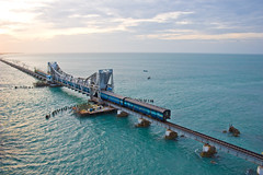 Rameshwaram bridge (tamilian / photo-capture.co.uk) Tags: bridge sunset sea train rameshwaram sathish southernrailway canon30d indianrailway pambanbridge photocapturecouk