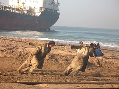 Ancient Egypt (Raja Islam) Tags: pakistan sea beach water ancient ship egypt labour karachi breaking ancientegypt shipbreaking gaddani