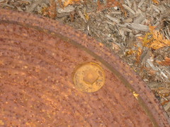 rusty manhole cover and ground