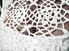 White Dress (mckenzieo) Tags: feminine crochet faded whatever bodice seethrough cleavage allure whitedress titillating womanly retrolook amplebosom mckenzieoerting purplehairedchick mckenzieo secretlifeofwhite oeilsactions