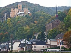 The Romantic Rhine, Koblenz to Bingen: Stolzenfels Castle (bill barber) Tags: autumn castle fall church berg rain architecture germany deutschland town bill arquitectura william german elements barber architektur alemania ren colonia reno rhine rhein tyskland architettura bundesrepublik casanova rin rijn germania alemanha koblenz duitsland deutsche arkitektur moselle bingen rivercruise photoshopelements architectur lallemagne mansard stolzenfels rhin billbarber rhinelandpalatinate doitsu niemcy njemaka saksa nmetorszg coblence coblenz kircke njemacka  nemecko romanticrhine mywinners rhenus platinumphoto anawesomeshot wdwbarber covelenz williambarber peterdeilmann bbarber1 mscasanova germnia