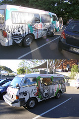 The Weeaboomobile (c.j.b) Tags: anime advertising japanese marketing manga australia tourists newport van carpark camper backpacker econovan carpaint deathtraps weeaboo baldtires fakeculturejamming newportarmsmotel shonkycompany