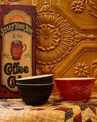 Chocolate & Red Pyrex Bowls