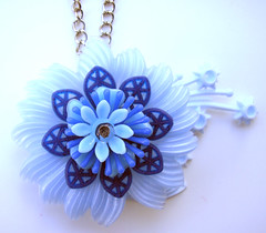 Blue Vintage Flowers Necklace