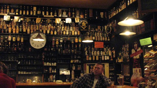 the bar, and part of the whiskey selection at Rupps