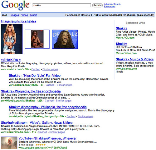 Shakira Search Result