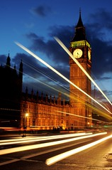 Time trails (~Glen B~) Tags: road bridge houses light bus london clock westminster car night big ben dusk trails parliament bbok redbubble:id=4486011timetrails alemdagqualityonlyclub