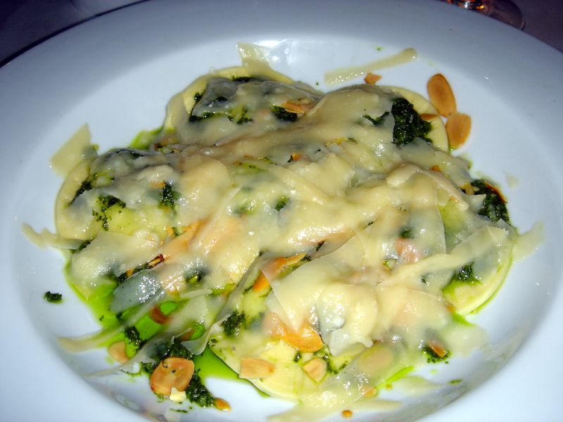Ravioli with Almonds and pesto