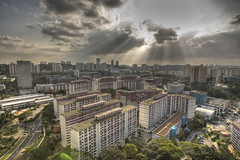 Lengkok Bahru HDR 3 (qingpingG12) Tags: sky cloud sun canon landscape eos singapore ray wide 1d housing hdr godlight mkiii