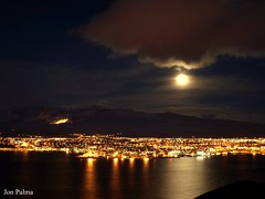 Akureyri   ( Iceland  )My hometown. (Jn Plma) Tags: travel winter sea sky cloud moon house mountain reflection ice night clouds landscape for mirror evening bay town iceland travels image sale olympus visit e buy moonlight 510 sland sjr exciting jn akureyri vetur hs vatn sk himinn travelphotos fjall slu kaupa eyjafrur visiticeland olympuse510 tnglskin jonpalma