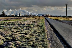 Straight and narrow (~Glen B~) Tags: road uk england sky grass clouds iron long gare britain steel south cleveland works poles straight furnace telegraph teesside narrow blast redcar