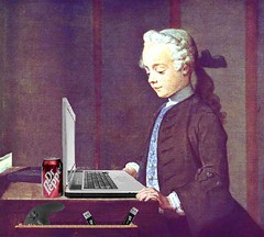 Boy with a Blog, after Jean-Baptiste-Siméon Chardin (Mike Licht, NotionsCapital.com) Tags: art painting laptop humor computers blogs drpepper bloggers blogging soda anachronism chardin arthumor mikelicht notionscapitalcom
