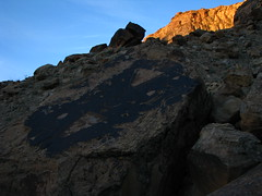 Sun Setting on the Cliffs high above the Petroglyphs (hey it rhymes) (scrunchy17) Tags: california travel sunset vacation cliff southwest art canon landscape utah desert indian pueblo canyon fremont powershot greenriver prehistoric petroglyph archeology anasazi fourcorners rockart bighornsheep coloradoplateau canyoncountry anthropomorph desertvarnish colorcountry s5is canons5