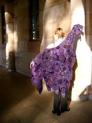 purple shawl by Prudence (freeform by prudence) Tags: motif purple unique oneofakind crochet wearableart shawl garments freeform motives arttowear scrumble freeformcrochet scrumbling freeformknitting prudencemapstone