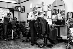 Clip, clip, clip... (tim clements) Tags: street england people haircut london candid character streetphotography clip scissors wanstead cuttinghair barbersshop